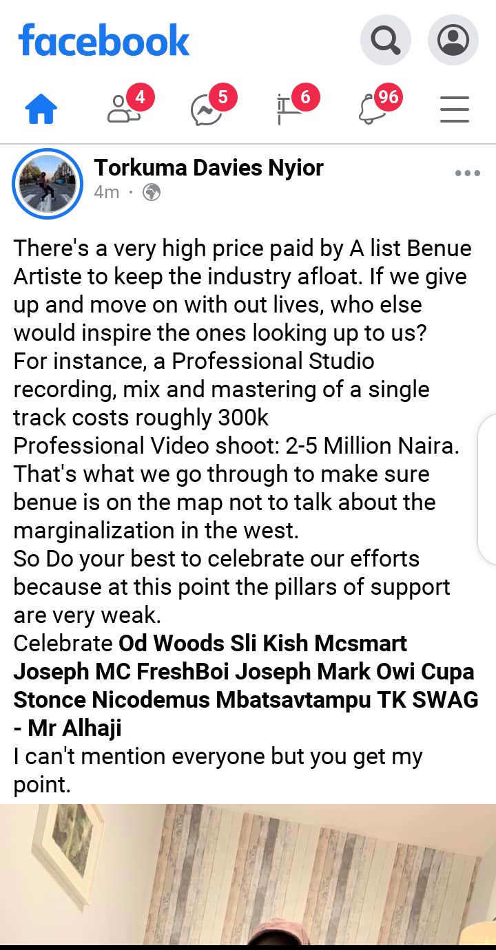 TK-Swag writes on the high price paid by A list Benue Artiste to keep the industry afloat