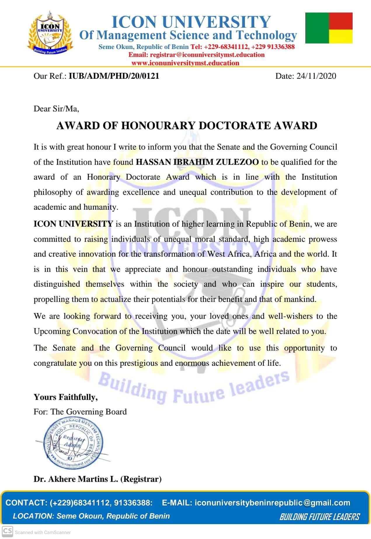 Zulezoo receives award of Honourary doctorate award