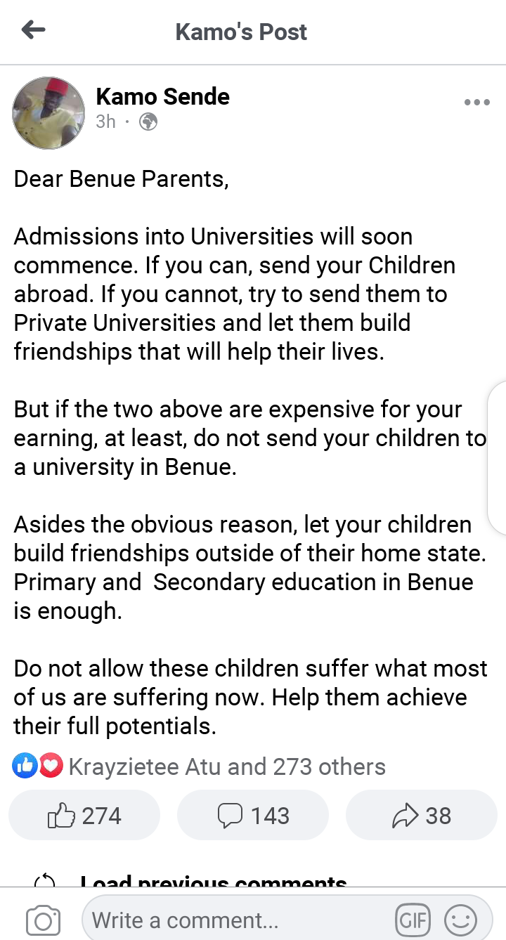 Do not send your children to a University in Benue - Kamo Sende