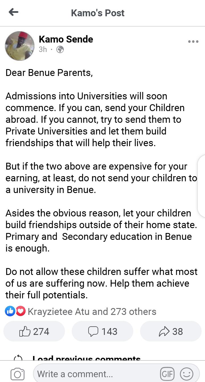 Do not send your children to a University in Benue - Kamo Sende