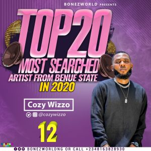 Top 20 Most searched artist from Benue state in 2020