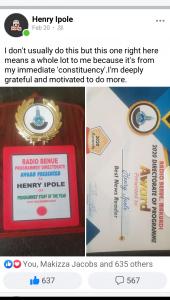 Henry Ipole wins an award