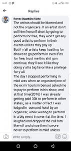 Different people talk about how show organizers in Makurdi poorly treat artist